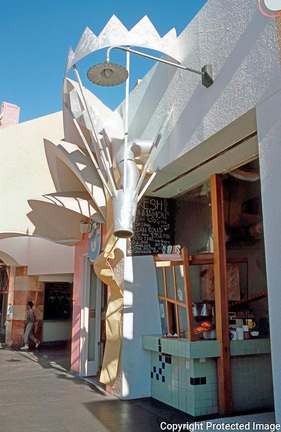 Jon Jerde: Horton Plaza Pastry Shop--designed by Tom Grondona.  Photo '85.
