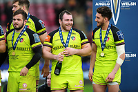 Leicester Tigers players are all smiles after the match. Anglo-Welsh Cup Final, between Exeter Chiefs and Leicester Tigers on March 19, 2017 at the Twickenham Stoop in London, England. Photo by: Patrick Khachfe / JMP