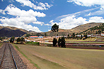 South America, Peru, Cusco. Train tracks of Peru Rail's Andean Explorer first class train journey from Cusco to Puno.