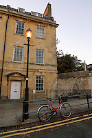 Street scene at dusk, Bath, UK, October 19, 2007. The city of Bath is famed for it's hot springs (the only in the UK) and it's Georgian architecture. The city is a UNESCO World Heritage Site.