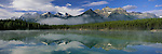The Canadian Rockies are reflected in the calm waters of a forest lined lake in Banff National Park, Alberta, Canada.