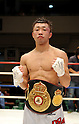 Akira Yaegashi (JPN), OCTOBER 24, 2011 - Boxing : Akira Yaegashi of Japan poses with his champion belt after winning the WBA minimumweight title bout at Korakuen Hall in Tokyo, Japan. (Photo by Mikio Nakai/AFLO)
