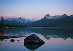 Idaho, Central, Stanley, Redfish Lake at dawn in summer.