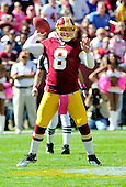 Washington Redskins quarterback Rex Grossman (8) prepares to pass in the first quarter against the Philadelphia Eagles at FedEx Field in Landover, Maryland on Sunday, October 16, 2011.  The Eagles won the game 20 - 13..Credit: Ron Sachs / CNP