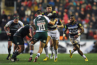 Matt Banahan of Bath Rugby takes on the Leicester Tigers defence. Aviva Premiership match, between Leicester Tigers and Bath Rugby on November 29, 2015 at Welford Road in Leicester, England. Photo by: Patrick Khachfe / Onside Images