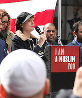NEW YORK, NY - FEBRUARY 19: Susan Sarandon  at the 'I Am Muslim Too' rally in Times Square coordinated by hip hop mogul Russell Simmons and a group of interfaith religious leaders in New York, New York on February 19, 2017.  Photo Credit: Rainmaker Photo/MediaPunch