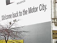 """Detroit: paesaggio urbano. Una scritta su un muro dice """" Bentornati nella città del motore"""". Di fronte un albero spoglio."""