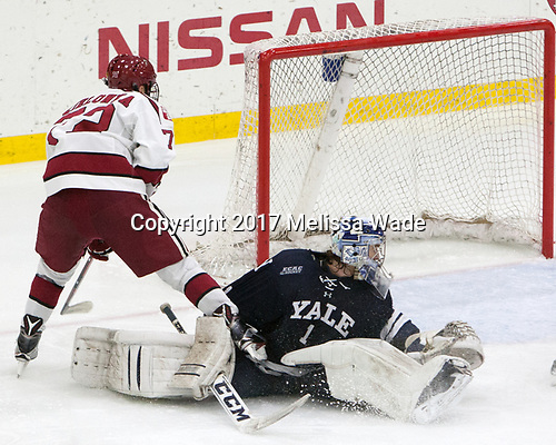 Phil Zielonka (Harvard - 72), Sam Tucker (Yale - 1) - The Harvard University Crimson defeated the Yale University Bulldogs 6-4 in the opening game of their ECAC quarterfinal series on Friday, March 10, 2017, at Bright-Landry Hockey Center in Boston, Massachusetts.