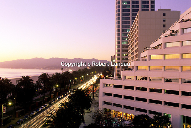 Traffic along Ocean Ave. at dusk, Santa Moinca, CA