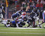 Louisiana Tech's Lennon Creer (5) is injured while being tackled vs. Ole Miss in Oxford, Miss. on Saturday, November 12, 2011.