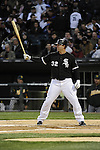 CHICAGO - APRIL 12:  Adam Dunn #32 of the Chicago White Sox bats against the Oakland Athletics on April 12, 2011 at U.S. Cellular Field in Chicago, Illinois.  The White Sox defeated the Athletics 6-5.  (Photo by Ron Vesely)  Subject:  Adam Dunn