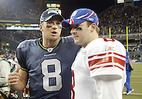 27 Nov 2005:   Seattle Seahawks quarter back Matt Hasselbeck spends a minute chatting after the game with his brother new York Giants quarterback Tim Hasselbeck at Qwest Field in Seattle, Washington.