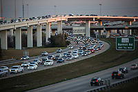 "Heavy traffic fills the ""Spaghetti Junction"" Mopac exchange in northwest Austin connects Highway 183, Mopac Loop 1 and Loop 360, the Capital of Texas Highway."