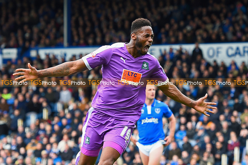 Jamille Matt of Plymouth Argyle celebrates after scoring during Portsmouth vs Plymouth Argyle, Sky Bet League 2 Football at Fratton Park on 16th April 2016