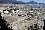 Photo shows what remains of  Yagisawa Shoten premises (center left) in Rikuzentakata, Iwate Prefecture Prefecture, Japan on 04 April 2011. Photograph: Robert Gilhooly