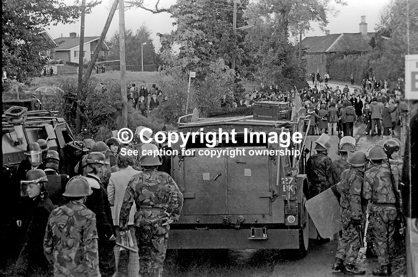 Soldiers and police confront Roman Catholics in the Suffolk area of West Belfast, N Ireland, who it is alleged were trying to take over nearby public housing occupied by Protestants. 9th July 1972, 197207090379b<br /> <br /> Copyright Image from Victor Patterson, 54 Dorchester Park, Belfast, UK, BT9 6RJ<br /> <br /> t: +44 28 9066 1296<br /> m: +44 7802 353836<br /> <br /> e1: victorpatterson@me.com<br /> e2: victorpatterson@gmail.com<br /> <br /> IMPORTANT: My Terms and Conditions of Business are at www.victorpatterson.com