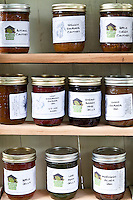 Homemade Springy Rhubarb Chutney, Apple Curry Chutney, Light Strawberry Rhubarb Jam, Strawberry Wine Jelly, Zingy Rhubarb Jam, Apple Jelly, Lime Mint Jelly, and Morning Glory Jam by Growing Spaces.