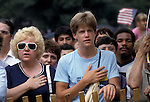 Undated (1980s) (4th of July) photo of people reciting the Pledge of Allegiance on the West Lawn of the U.S. Capitol in Washington, DC.