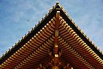Photo shows the roof of the main hall at Tsurugaoka Hachimangu, Kamakura, Japan on 24 Jan. 2012. Photographer: Robert Gilhooly