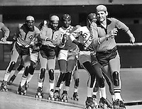 ROLLER DERBY: Jolters Jerry Cattell leading a breakout line...(1971 photo/Ron Riesterer)