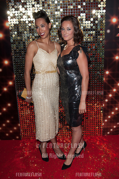 Rebecca Scroggs and Luisa Bradshaw arriving for the 2014 British Soap Awards, at the Hackney Empire, London. 24/05/2014 Picture by: Dave Norton / Featureflash