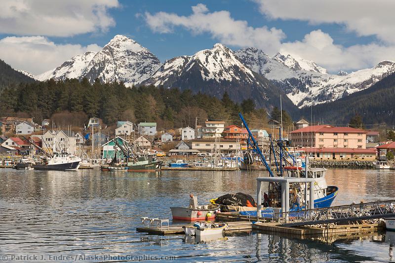 Commercial fishing boats in ANB Harbor, Sitka, Baranof Island, southeast Alaska.