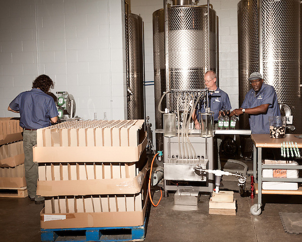 June 18, 2013. Chapel Hill, North Carolina<br />  (left to right) Bottle soy TOPO Gin are labeled, filled, corked and sealed on their way down the assembly line.<br />  TOPO, Top of the Hill Distillery, the brainchild of owner Scott Maitland and Spirit Guide Esteban McMahan, is located in the old N&amp;O Building on Franklin Street. Making gin, vodka and American whiskey from locally sourced wheat, they are one of the few distilleries bringing  organic liquor to ABC shelves around the state.