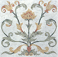 Tamsin Stone Mosaic shown in polished Calacatta Tia, Renaissance Bronze, Giallo Reale, Rosa Verona, Verde Luna, Spring Green, Verde Luna, Aegean Brown, and Red Lake.
