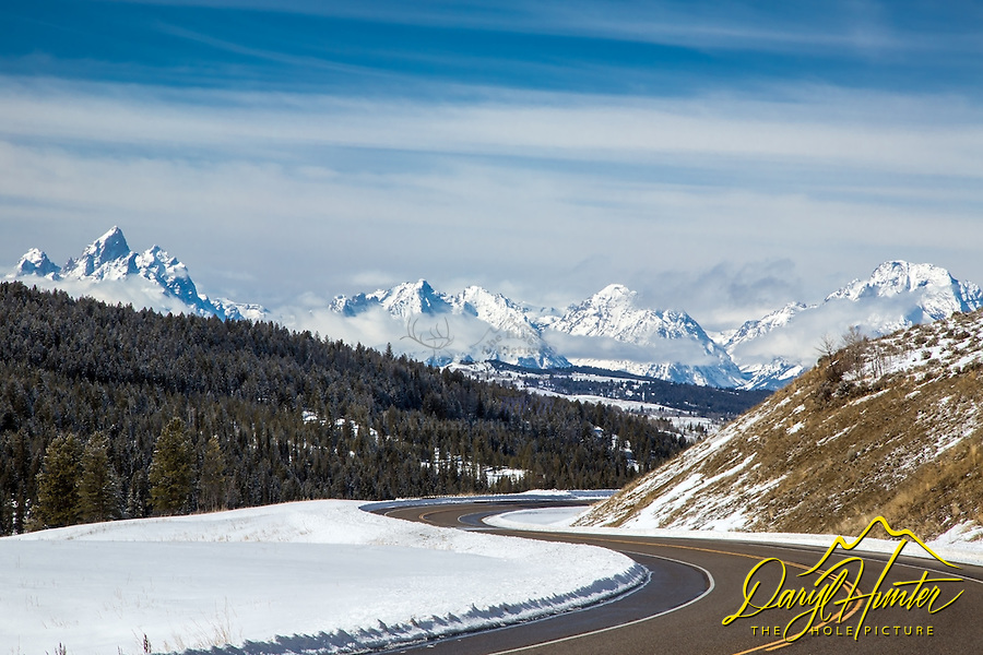 Winding winter road, Grand Tetons, the destination. The Grand Tetons are an inviting sight as you drop into Jackson Hole.  That said; in the nineteenth they just looked like another barrier to overcome.