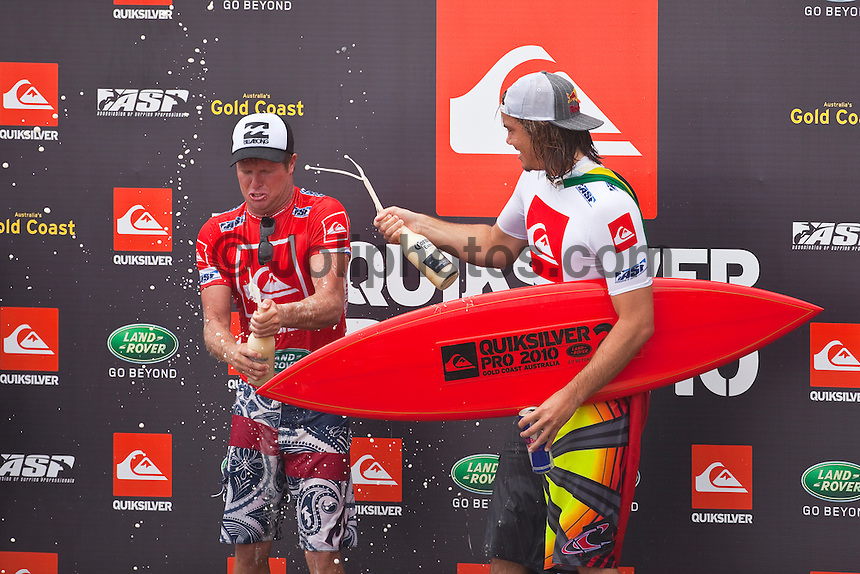 SNAPPER ROCKS, Queensland/Australia (Friday, March 5, 2010) - Taj Burrow (AUS), 31 has taken out the Quiksilver Pro Gold Coast presented by Land Rover over Jordy Smith (ZAF), 22, in rippable two-to-three foot (1 metre) waves at Snapper Rocks.      The opening event of then 2010 ASP World Tour season, the Quiksilver Pro Gold Coast started the year off with a bang, bringing the greatest assemblage of surfing talent in history to one of the most iconic pointbreaks in the world, and the world's best surfers shattered high-performance barriers once again. While the young South African led throughout the first half of the 40-minute Final, it was Burrow who changed the tide with a mid-heat assault, racking up several solid scores in larger set waves amidst the deteriorating conditions.       Burrow, who has secured victories in the previous two events entered (Pipeline in December and Burleigh Heads in February), has been in sensational form over the past three months, and will look to continue the momentum in 2010 as he hunts down his first ASP World Title.   Smith, who went on a giant-killing spree at the event, eliminating former nine-time ASP World Champion Kelly Slater (USA), 38, in yesterday's Round 4 before posting the best result of his young career, defeating Dane Reynolds (USA) in this morning's semi final.   Photo: joliphotos.com