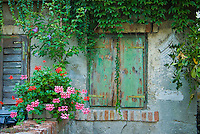 Window of old house in coastal town of Grado, Northern Italy