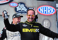 Sept. 25, 2011; Ennis, TX, USA: NHRA top fuel dragster driver Troy Buff during the Fall Nationals at the Texas Motorplex. Mandatory Credit: Mark J. Rebilas-