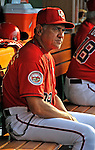 21 June 2008: Washington Nationals' First Base Coach Jerry Morales sits on the dugout bench prior to facing the Texas Rangers at Nationals Park in Washington, DC. The Nationals fell to the Rangers 13-3 in the second game of their 3-game inter-league series...Mandatory Photo Credit: Ed Wolfstein Photo