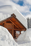 Deep snows cover the buildings at the Lolo Pass Visitor Center on the Montana / Idaho border.