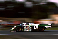 LE MANS, FRANCE - JUNE 17: The Skoal Bandit Racing Team Porsche 956B 114 of David Hobbs, Philippe Streiff and Sarel van der Merwe is driven en route to a third place finish in the 24 Hours of Le Mans FIA World Sports Car Championship race at the Circuit de la Sarthe in Le Mans, France, on June 17, 1984.