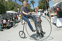 Santa Monica City Librarian Gregg Mullen rides a Penny Farthing during Santa Monica Public Library's bicycles and cycling  iCycle  festival  on Saturday, May 22, 2010.