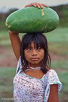 Cashinahua Indian girl carrying a watermelon, Boca Curanja, Alto Purus Communal Reserve, lowland tropical rainforest, Ucayali, Peru