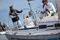 Mathieu Richard in action on day 2 of Match Race Germany. World Match Racing Tour. Langenargen, Germany. 21 May 2010.