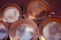 Copper pans for sale in the village of Santa Clara del Cobre near Lake Patzcuaro, Michoacan, Mexico