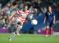 Glasgow, Scotland - Saturday, July 28, 2012: Carli Lloyd of the USA Women's soccer team during a 3-0 win over Colombia in the first round of the Olympic football tournament at Hamden Park.