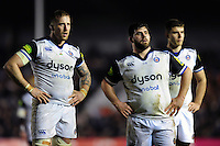 Dom Day and Rob Webber of Bath Rugby watch a replay on the big screen. Aviva Premiership match, between Harlequins and Bath Rugby on March 11, 2016 at the Twickenham Stoop in London, England. Photo by: Patrick Khachfe / Onside Images
