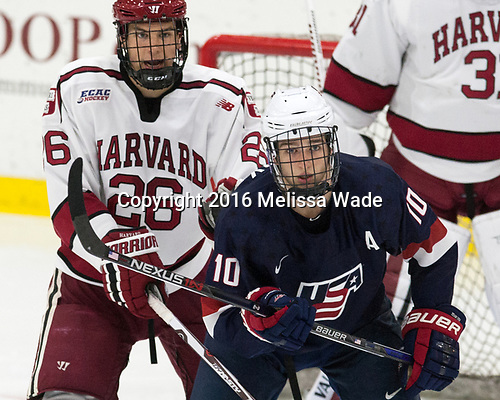Jacob Olson (Harvard - 26), Scott Reedy (NTDP - 10) - The Harvard University Crimson defeated the US National Team Development Program's Under-18 team 5-2 on Saturday, October 8, 2016, at the Bright-Landry Hockey Center in Boston, Massachusetts.