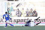 3 December 2006: UCSB's Eric Avila (15) beats UCLA goalkeeper Eric Reed (22) on a breakaway in the 61st minute to give UCSB a 2-0 lead. California-Santa Barbara defeated California-Los Angeles 2-1 at Robert R. Hermann Stadium in St. Louis, Missouri in the NCAA men's college soccer tournament final game to win the 2006 NCAA Championship.
