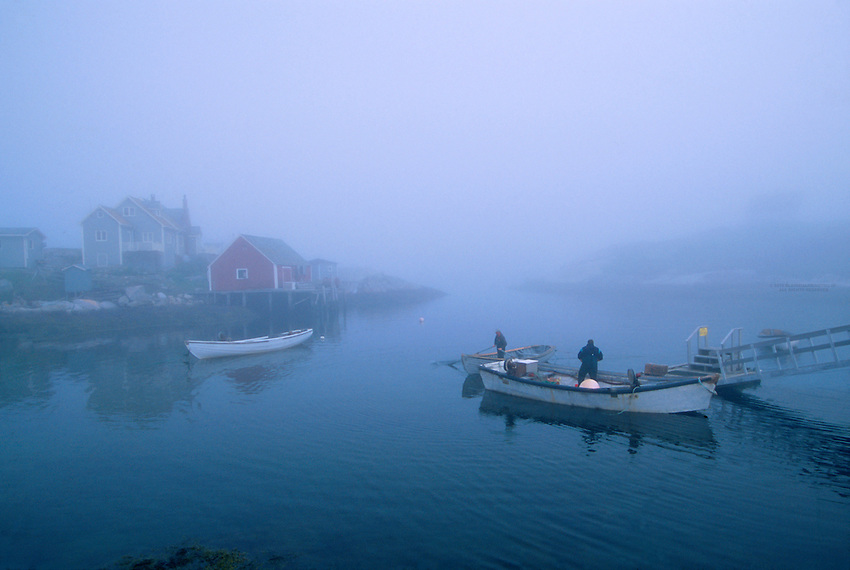 Foggy morning in a fishing village, Peggy's Cove, Nova Scotia, Canada
