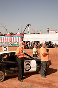 October 20, 2012. Raleigh, North Carolina.. The national anthem is sung before the beginning of the  2012 North Carolina State Fair figure eight races. The races were judged in 2 qualifying heats of 8 laps and then the qualifiers competed in a 10 lap finale..