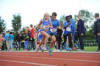 ATLETIEK: HEERENVEEN: 19-09-2015, Athletics Champs AV Heerenveen, Leah Jellema (#28 | 9 jaar), Jurre Zwaan (#53 | 11 jaar), Kaimby Nicolaas Bruinsma (#7 | 9 jaar), ©foto Martin de Jong