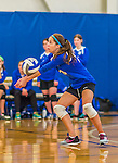 18 October 2015: Yeshiva University Maccabee Defensive Specialist and Outside Hitter Carol Jacobson, a Senior from Seattle, WA, bumps during game action against the College of Mount Saint Vincent Dolphins at the Peter Sharp Center, in Riverdale, NY. The Dolphins defeated the Maccabees 3-0 in the NCAA Division III Women's Volleyball Skyline matchup. Mandatory Credit: Ed Wolfstein Photo *** RAW (NEF) Image File Available ***