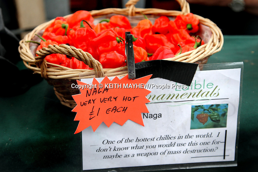 Frost's Chilli Festival at Frost's Garden Centre, Willington near Bedford, UK 17th August 2013<br /> <br /> Pictured - Naga Chilli Peppers - on sale - VERY hot<br /> <br /> Photo by Keith Mayhew