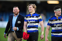 David Denton of Bath Rugby is all smiles after the match. Aviva Premiership match, between Bath Rugby and Harlequins on February 18, 2017 at the Recreation Ground in Bath, England. Photo by: Patrick Khachfe / Onside Images