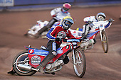 Heat 6 - Leigh Lanham of Lakeside (Yellow) leads Greg Hancock (Red) and Janusz Kolodziej (Blue) of Reading on his way to winning the heat - Reading Bulldogs vs Lakeside Hammers at Reading - 23/04/07 - MANDATORY CREDIT: TGSPHOTO